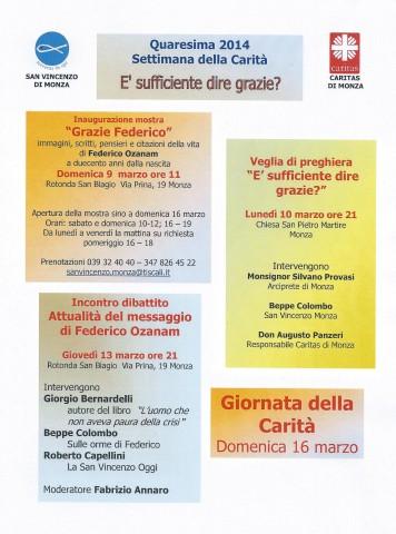 programma Settimana della Carità 2014