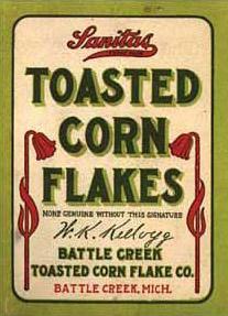Una delle prime confezioni di corn flakes Kellogg's