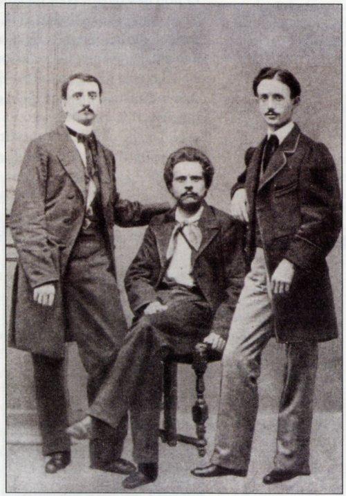 Carducci, al centro, con gli 'amici pedanti' Gargani e Chiarini.