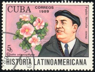 Francobollo dedicato a Pablo Neruda.