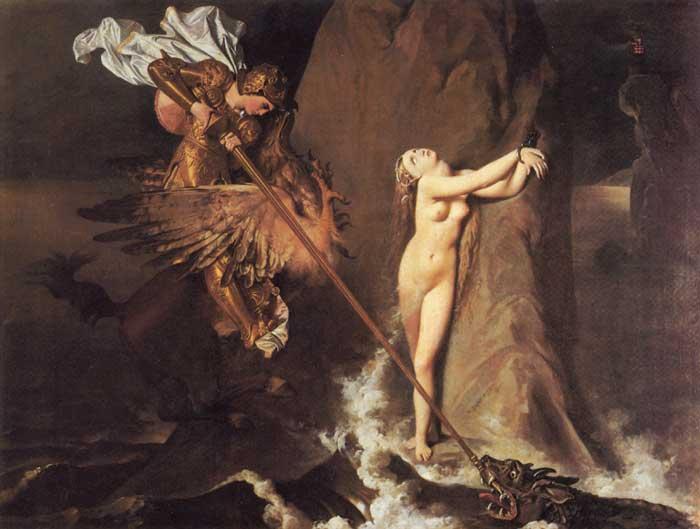 Una scena dell'Orlando Furioso (la liberazione di Angelica da parte di Ruggiero) dipinta dal francese Ingres