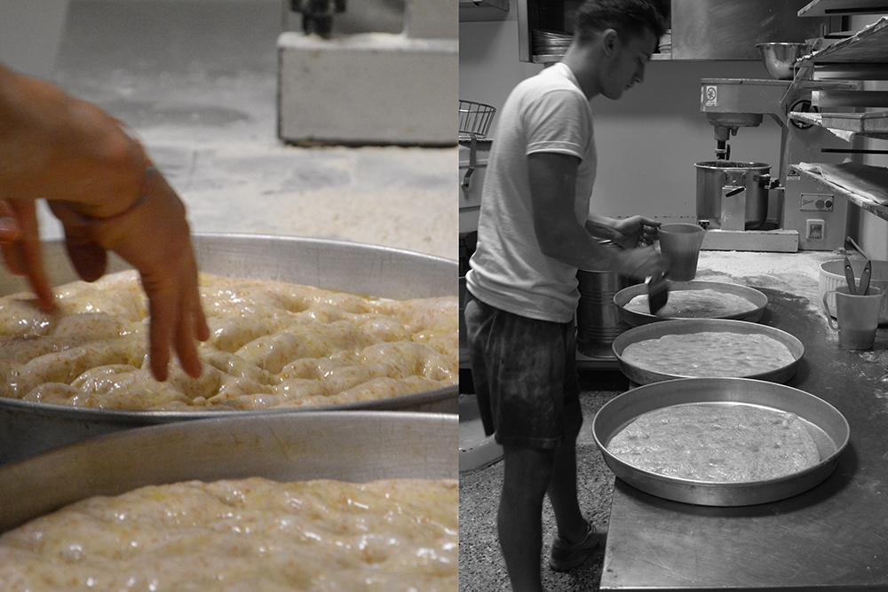 Giacomo prepara le teglie di pizza