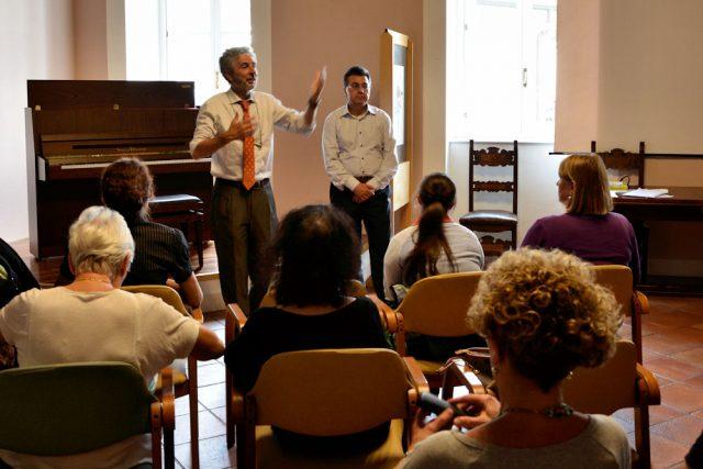 Roberto Mauri e Fabrizio Annaro all'inaugurazione del concerto di pianoforte degli allievi della Fondazione Musicale Vincenzo Appiani