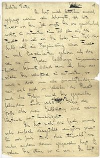 Prima pagina autografa di Lettere al Padre