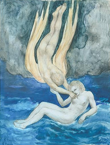 Un disegno di Kahlil Gibran. Molti suoi lavori sono immersi in una forte atmosfera religiosa.