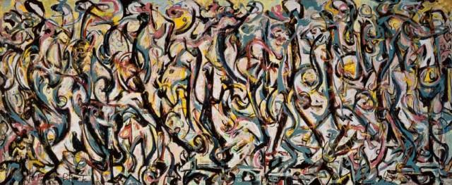 Jackson Pollock, Murale, 1943, olio e caseina su tela, 242,9 x 603,9. Donazione Peggy Guggenheim, 1959. University of Iowa Museum of Art. Riproduzione concessa dalla University of Iowa