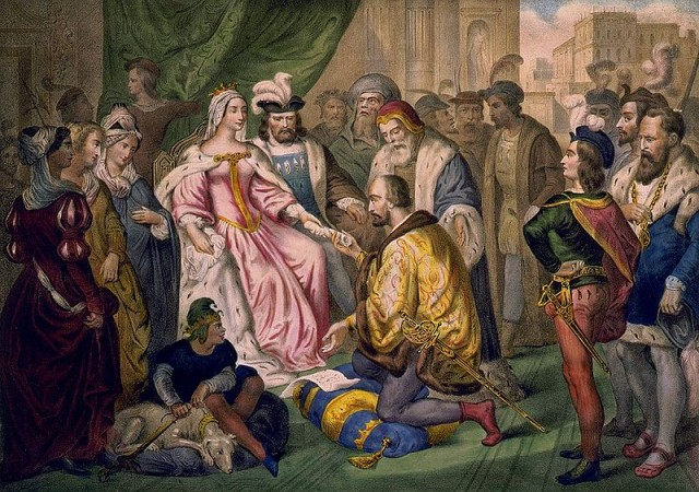 Cristoforo Colombo in ginocchio davanti alla regina Isabella di Castiglia