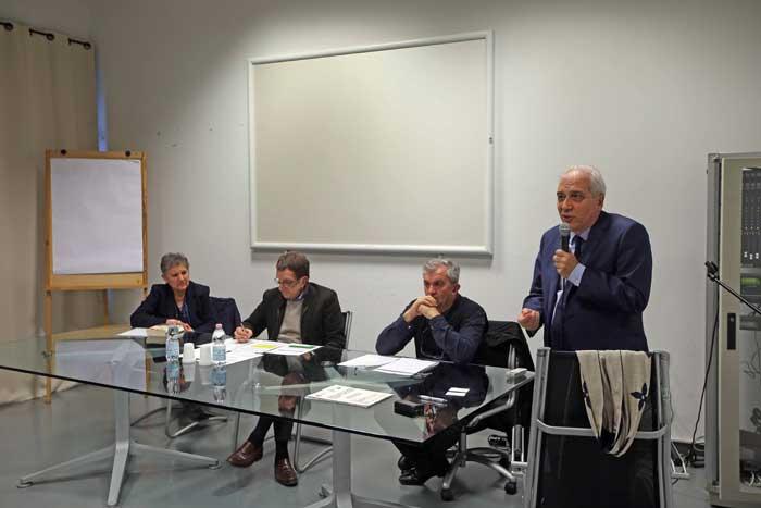 Da sinistra: Cherubina Bertola, Angelo Longoni, giornalista, don Virginio Colmegna, il Sindaco di Monza Roberto Scanagatti