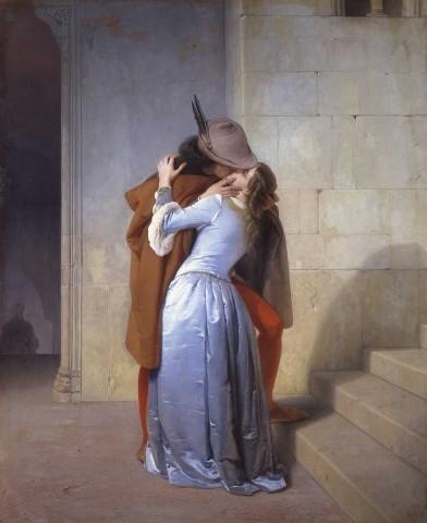 Il bacio. Episodio della giovinezza. Costumi del secolo XIV, 1859