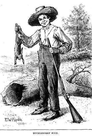 Hucleberry Finn in un'illustrazione originale del libro