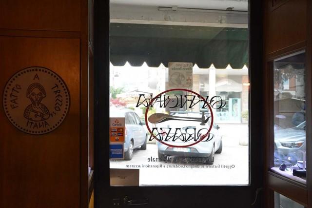 L'ingresso della bottega orafa a Trezzo sull'Adda