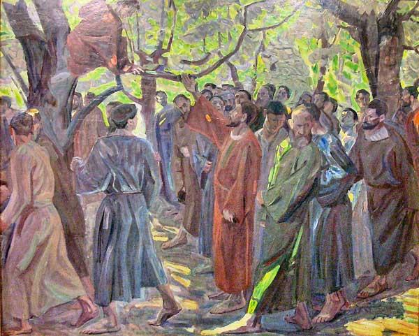 Gesù invita Zaccheo a scendere dal sicomoro