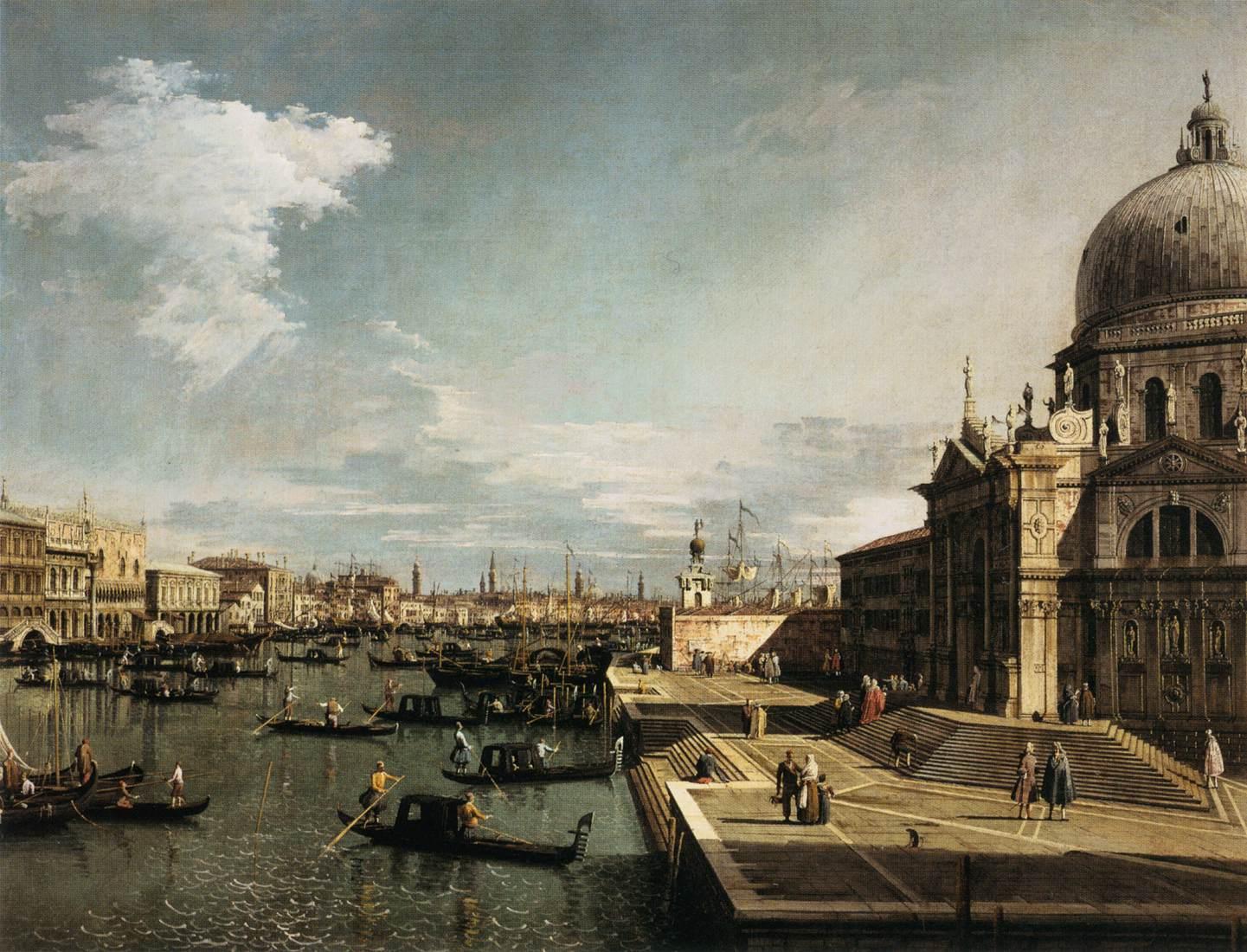 Canaletto, Imbocco al Canal Grande e la chiesa di Santa Maria della Salute, 1730 circa, olio su tela, 119x153 cm, Musée du Louvre, Parigi