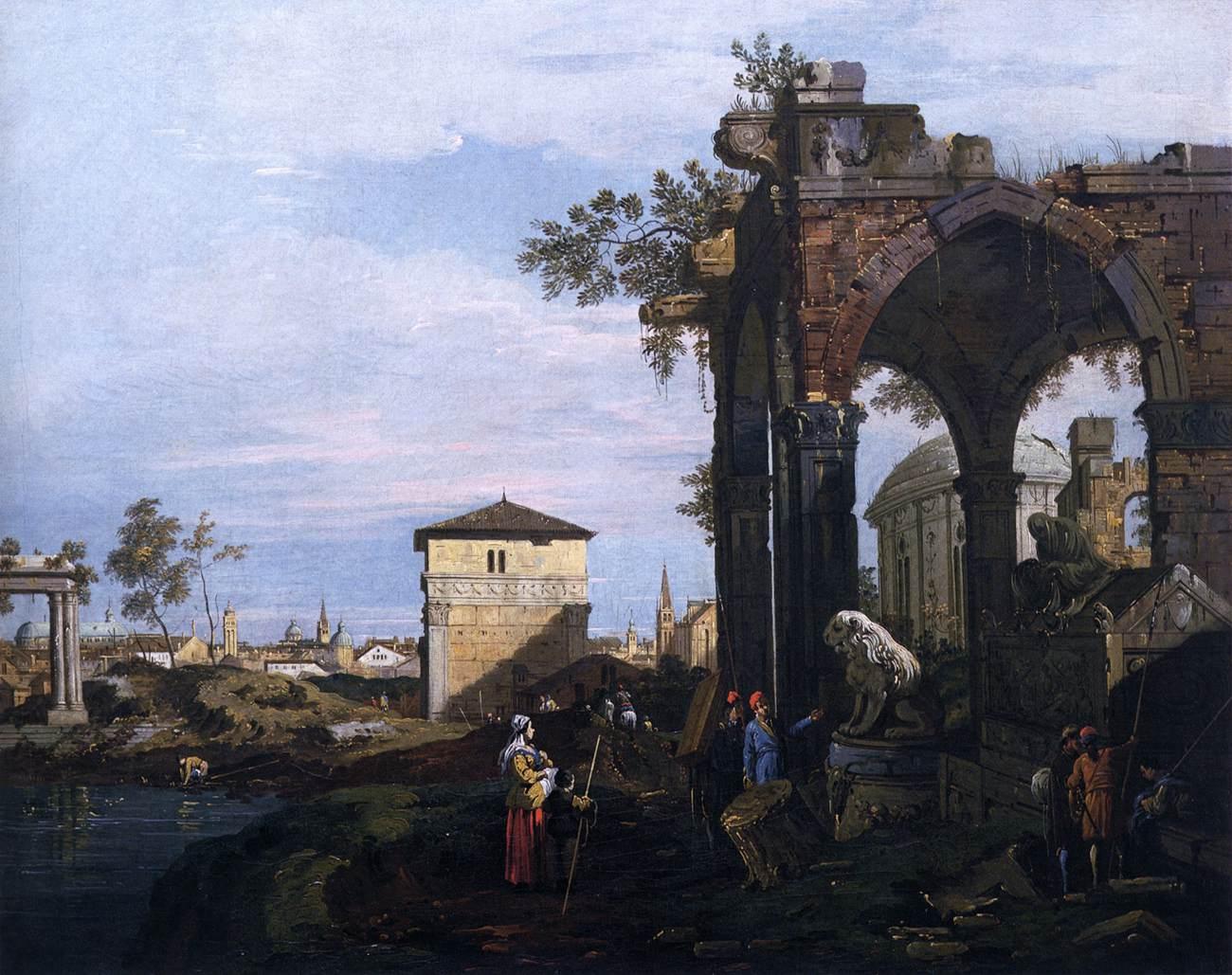 Canaletto, Capriccio con rovine e Porta Portello a Padova, 1750 circa, olio su tela, 61x76 cm, Gallerie dell'Accademia, Venezia