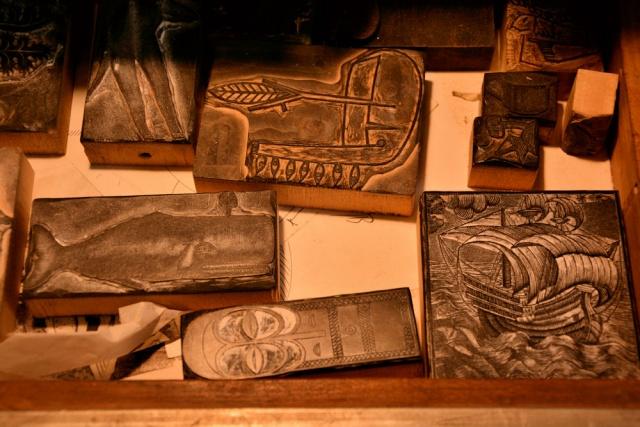 Timbri in legno preparati dall'amico maestro incisore