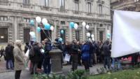Giornalisti in piazza in difesa della libertà di stampa